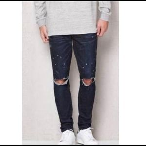 PACSUN Stacked Skinny Paint Splatter Ripped Jeans